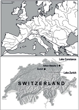 Map showing the location of the study sites in Switzerland, including Arbon Bleiche 3 at Lake Constance and a range of sites in the lower Lake Zurich region. Figure: © IPNA, Thomas Doppler.