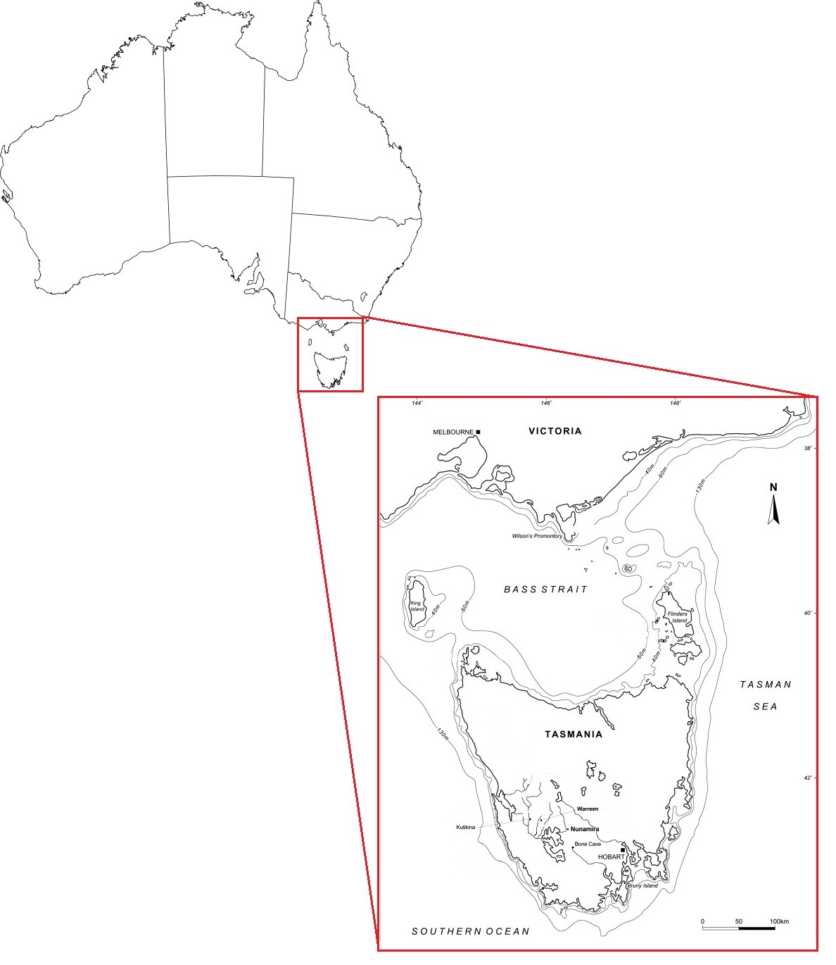 Related archaeological sites in southwestern Tasmania. Adapted from Cosgrove et al. 2010.